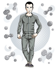 Confident handsome brunet young man is standing on simple background with dumbbells and barbells. Vector illustration of sportsman, sport style.