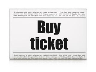 Vacation concept: newspaper headline Buy Ticket