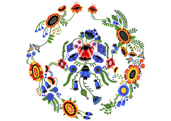 Neat Wreath Illustration with Detailed Flowers