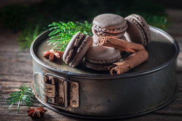 Delicious macaroons flavored with cinnamon and anise for Christmas