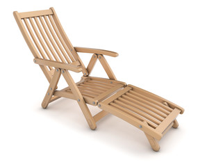 Deck chair. 3d image isolated on white