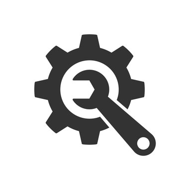 Vector Wrench and gear grey icon