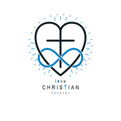 Immortal Love of God conceptual symbol combined with infinity loop sign and Christian Cross with heart, vector creative logo.