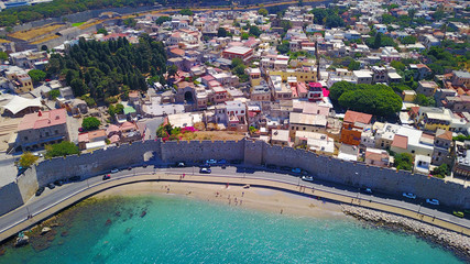 August 2017: Aerial drone photo of iconic medieval fortified old town of Rodos island, Aegean, Dodecanese, Greece