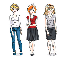 Happy young women posing wearing fashionable casual clothes. Vector people illustrations set. Fashion and lifestyle theme cartoons.