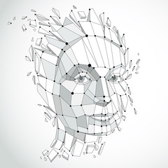 Smart person and mind concept, human head exploding and breaks into multiple fractures.3d vector illustration of thoughtful woman face created in low poly modernized style and with lines mesh.