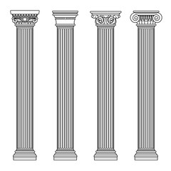 Greek and roman architecture classic stone colomns. Outline vector illustration