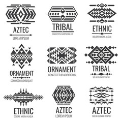 Mexican aztec symbols. Vintage tribal vector ornaments