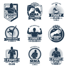 Retro mma vector emblems and labels. Fight club vintage logos