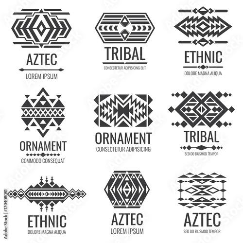 Mexican Aztec Symbols Vintage Tribal Vector Ornaments Stock Image