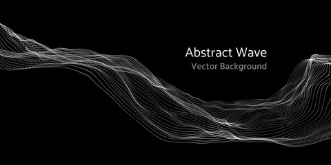 Mesh network 3d abstract wave and particles vector background Fotoväggar