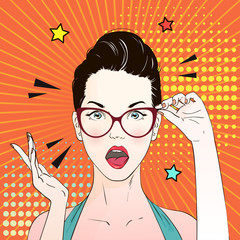Pop art surprised woman face with open mouth in glasses. . Vector illustration.