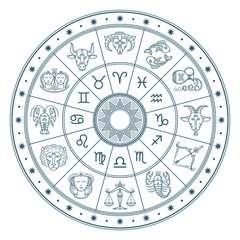 Astrology horoscope circle with zodiac signs vector background