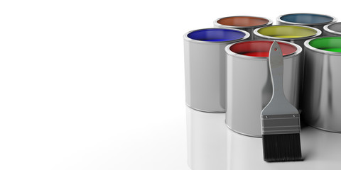 Paint cans and paintbrush on white background, 3d illustration