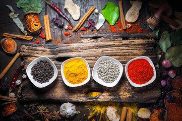 Selection of spices herbs and ingredients for cooking, Food background on wooden table, Top view, Thai cuisine.