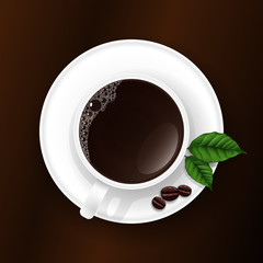 Top View of a Cup of Coffee with Coffee Grains and Sheets, Vector Illustration
