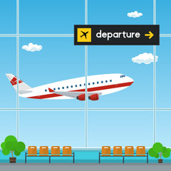 Waiting Room at the Airport , View of a Flying Airplane through the Window from a Waiting Room , Scoreboard Departures from Airport, Travel Concept, Flat Design, Vector Illustration