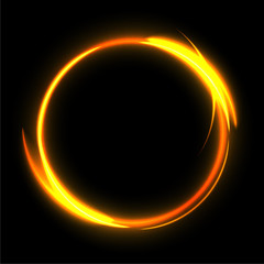 Fire circle on black background. Fire ring glowing trace. Vector fire gold circle.