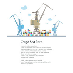 Cargo Cranes and Containers at the Seaport and Text, International Freight Transportation, Poster Brochure Flyer Design, Vector Illustration