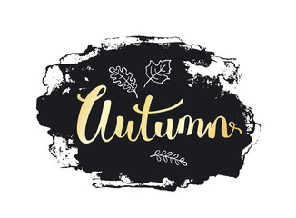 autumn fall handwritten hand drawn grunge paint brush stroke texture background in black and gold