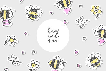 bees stickers frame