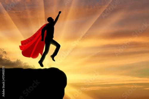 Superhero businessman flies