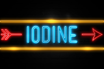 Iodine  - fluorescent Neon Sign on brickwall Front view