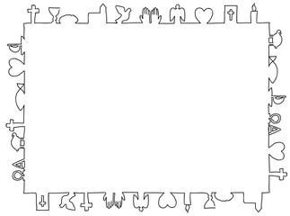 Rechteckiger Rahmen aus christlichen Symbolen