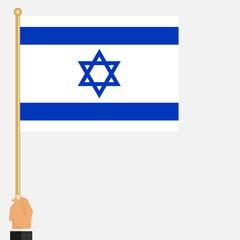 Flag of Israel in hand, symbol of Israel