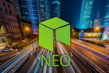 Concept of  NEO coin,  a Cryptocurrency blockchain, Digital money
