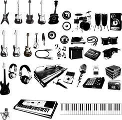 music and musical instruments vector package set