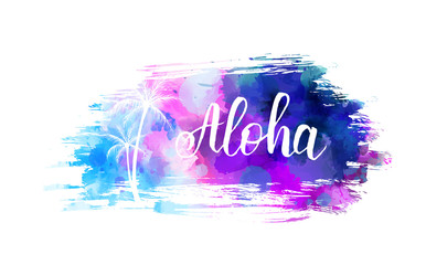 Brushed background with handwritten Aloha text