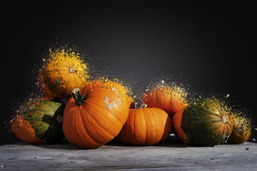 Assorted pumpkins and squashes shattered