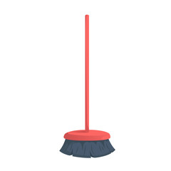 Cartoon trendy red plastic bristle broom with stick icon. Hygiene and home cleaning vector illustration.