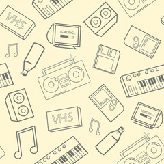Stylish seamless pattern with old school attributes, electronic devices and music instruments on yellow background. Back to 90-s concept. Vector illustration for wallpaper, website backdrop.