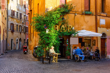 Stores photo Rome Cozy old street in Trastevere in Rome, Italy