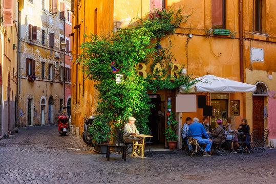 Cozy old street in Trastevere in Rome, Italy