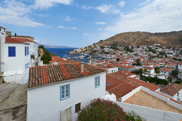 View of Hydra town from L.Kountouriotis museum