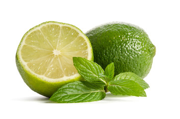 green mint, lime with half of a juicy lime isolated on white background