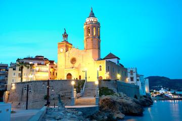 Church of Sant Bertomeu and Santa Tecla in Sitges by night.Costa Brava, Spain.
