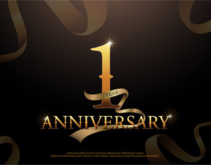 1 year anniversary celebration logotype template. 1st logo with ribbons on black background