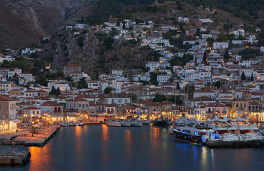 Panoramic view of Hydra town and harbor