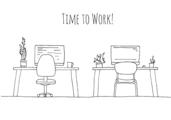 Sketch the room. Office chair, desk, various objects on the table. Sketch workspace. The inscription is the time to work Vector illustration