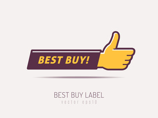 Arm shaped badge with best buy text and thumb up vector illustration