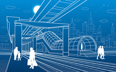 Infrastructure and transport illustration. Monorail railway. People walking under flyover. Crosswalk. Modern night city. Airplane fly. Towers and skyscrapers. White lines. Vector design art
