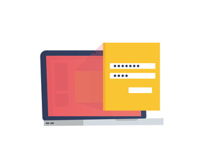 Laptop with password and Login form. Username, password fields, sign in button. vector illustration