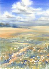 summer meadow landscape watercolor