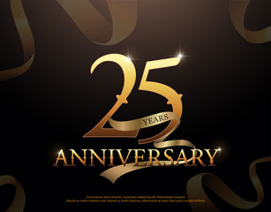 25 year anniversary celebration logotype template. 25th logo with ribbons on black background