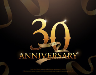 30 year anniversary celebration logotype template. 30th logo with ribbons on black background