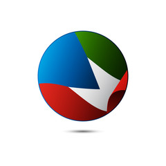 Equatorial Guinea flag button with shadow on a white background. Vector illustration.